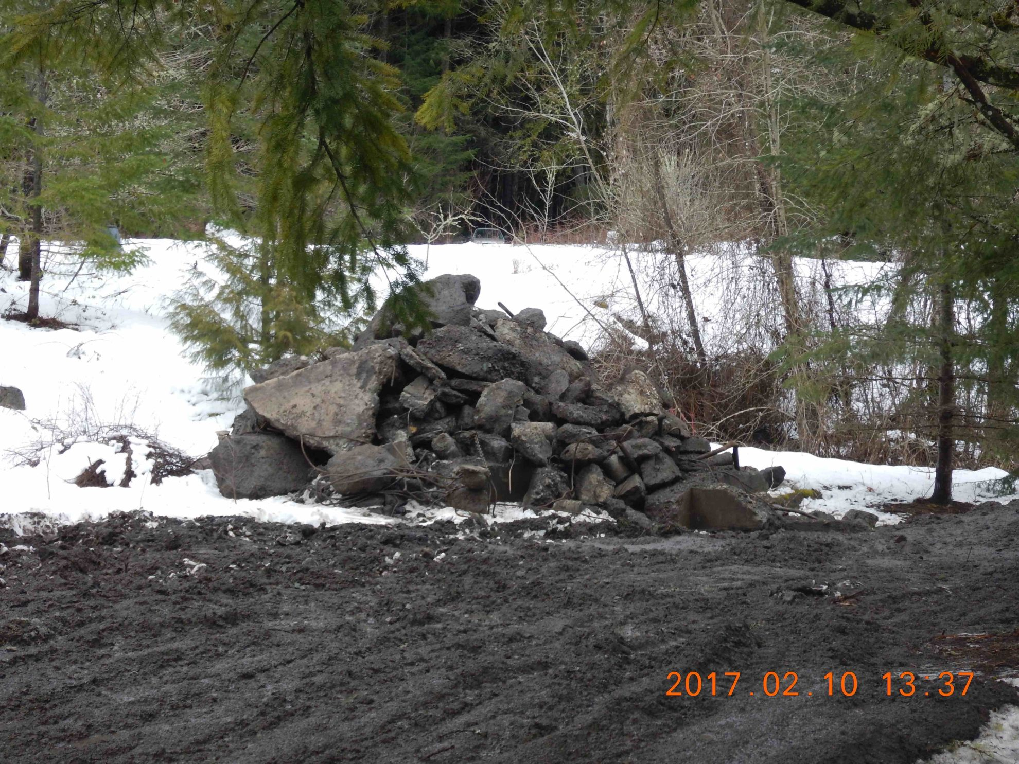 Cement debris pile Feb 10